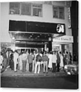 Crowd Standing In Front Of Studio 54 Canvas Print