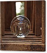 Crystal Ball In Wooden Lanterns Canvas Print