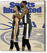 Curry  Durant Inside A Golden Basketball Sunset Sports Illustrated Cover Canvas Print