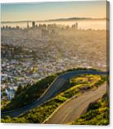 Curvy Road And View Of Downtown At Canvas Print