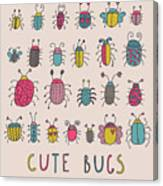 Cute Bugs. Cartoon Insects In Vector Set Canvas Print