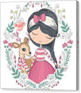 Cute Girl And Little Deer Vector Design Canvas Print