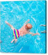 Cute Little Baby Swimming Underwater Canvas Print