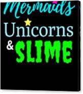 Cute Mermicorn Unicorn Mermaid Slime Birthday Canvas Print