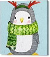 Cute Penguin In Scarf. Watercolor Canvas Print