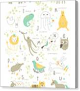 Cute Zoo Alphabet With Funny Animals In Canvas Print