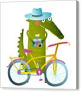Cyclist Crocodile Tourist With Blue Canvas Print