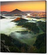 Czech Typical Autumn Landscape. Hills Canvas Print