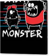 Dada Monster Cute Monster Cartoon For Kids And Dad Dark Canvas Print