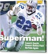 Dallas Cowboys Emmitt Smith, Super Bowl Xxviii Sports Illustrated Cover Canvas Print