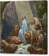Daniel In The Den Of Lions  Engraving By Gustave Dore Canvas Print