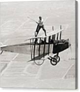 Daredevil Al Wilson Golfing On Biplane Canvas Print