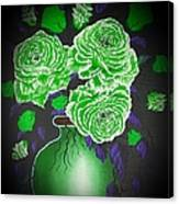 Dark And Delicious Roses  In Green Canvas Print
