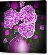 Dark And Delicious Roses In Pink Lilac Canvas Print