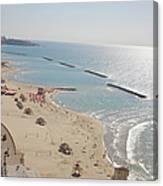 Day View Of Tel Aviv Promenade And Beach Canvas Print