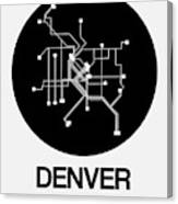 Denver Black Subway Map Canvas Print