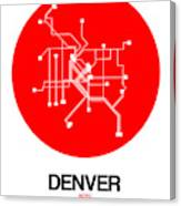 Denver Red Subway Map Canvas Print