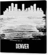 Denver Skyline Brush Stroke White Canvas Print