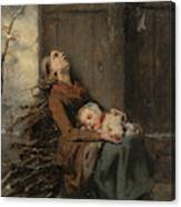 Destitute Dead Mother Holding Her Sleeping Child In Winter, 1850 Canvas Print