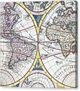 Detail Copper Engraving Of World Map Canvas Print