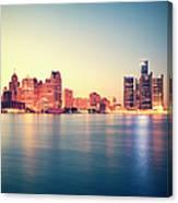 Detroit At Sunset Canvas Print