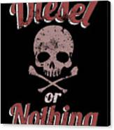 Diesel Or Nothing Truck 4x4 Power Fuel Skull Red Canvas Print