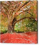 Digital Watercolor Painting Of Beautiful Autumn Fall Nature Fair Canvas Print