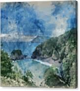 Digital Watercolor Painting Of Beautiful Dramatic Sunrise Landsa Canvas Print