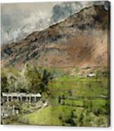 Digital Watercolor Painting Of Beautiful Old Village Landscape N Canvas Print