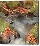 Digital Watercolor Painting Of Blurred Water Detail With Rocks N Canvas Print