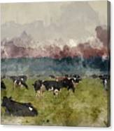 Digital Watercolor Painting Of Cattle In Field During Misty Sunr Canvas Print