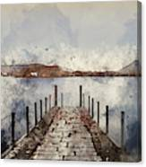 Digital Watercolor Painting Of Landscape Image Of Derwent Water  Canvas Print