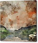 Digital Watercolor Painting Of Llyn Nantlle At Sunrise Looking T Canvas Print