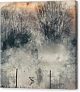 Digital Watercolor Painting Of Panorama Landscape Of Lake In Mis Canvas Print