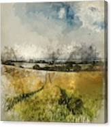 Digital Watercolor Painting Of Stunning Countryside Landscape Wh Canvas Print