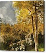 Digital Watercolor Painting Of Stunning Vibrant Autumn Forest La Canvas Print