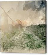 Digital Watercolor Painting Of Windmill In Stunning Landscape On Canvas Print