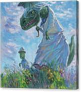 Dinosaur And Son With A Parasol  Canvas Print
