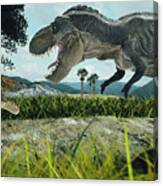 Dinosaur Scene Of The Two Dinosaurs Canvas Print