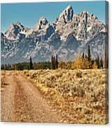 Dirt Road To Tetons Canvas Print