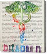 Doctor Of Pharmacy Gift Idea With Caduceus Illustration 03 Canvas Print