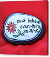 Don't Believe Everything You Think Painted Rock Canvas Print