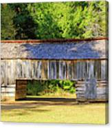 Double Crib Barn In Cades Cove In Smoky Mountains National Park Canvas Print