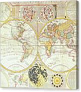Double Hemisphere World Map Canvas Print