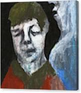 Double Portrait On Black Canvas Print