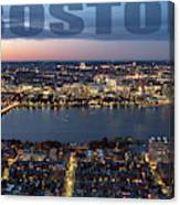Downtown Boston At Night With Charkes River In The Middle Canvas Print