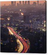 Downtown Los Angeles Skyline At Canvas Print