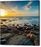 Dramatic Sunset On The Rocky Beach Canvas Print