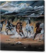 Dream Horse Series 125 - Flat Bottom River Wild Horse Herd Canvas Print