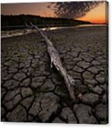 Dry Banks Of Rainy River After Sunset Canvas Print